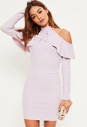 Missguided Purple Frill Cold Shoulder Long Sleeve Dress