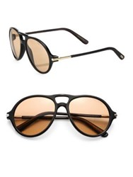 Tom Ford Private Collection Tom N.10 55Mm Horn Temple Sunglasses Black Brown
