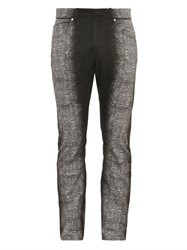 Balenciaga Spray Print Slim Leg Cotton Trousers