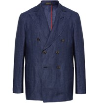 Rubinacci Blue Double Breasted Linen Blazer Navy