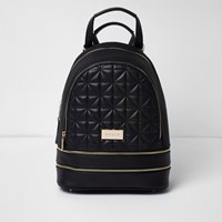 River Island Womens Black Double Zip Quilted Backpack