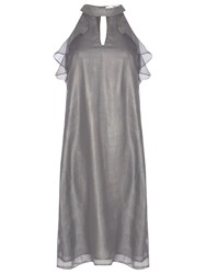 True Decadence Ruffle Sleeveless Dress Light Grey