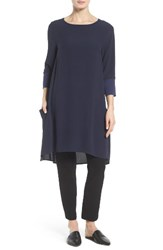 Eileen Fisher Women's Mixed Media Silk Tunic Midnight