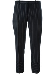 Victoria Beckham Pinstripe Trousers Blue