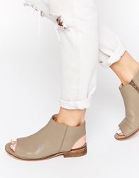 Asos Aaliya Open Back Peep Toe Leather Ankle Boots Stone