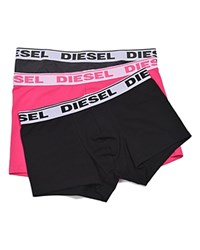 Diesel Shawn Solid Stretch Cotton Boxer Shorts Pack Of 3 Pink Charcoal Navy