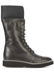 Fabiana Filippi Lace Up Mid Calf Boots Black
