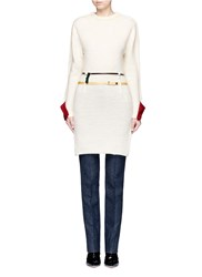 Toga Archives Contrast Cuff Double Belted Knit Dress White