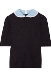Miu Miu Broderie Anglaise Trimmed Cashmere And Silk Blend Sweater Navy
