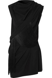 Rick Owens Fringed Draped Stretch Satin Top Black