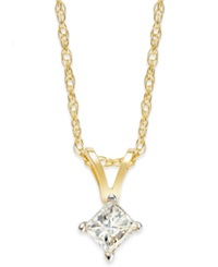 Macy's Princess Cut Diamond Pendant Necklace In 10K Gold 1 4 Ct. T.W.