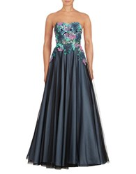 Basix Ii Strapless Lace Ball Gown Teal Multi