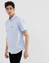 Ben Sherman Short Sleeved Shirt With Ribbed Cuff Blue
