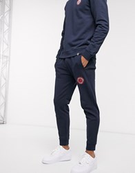Pretty Green Live Forever Badge Logo Sweat Joggers In Navy
