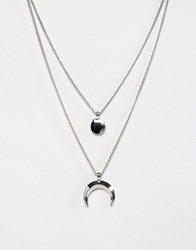 Burton Menswear Horn And Disk Double Necklace In Silver