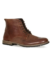 Topman Brown Tan Leather Brogue Boots
