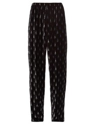 Balenciaga Eiffel Tower Print Velvet Trousers Black