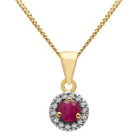 A B Davis 9Ct Gold Precious Stone And Diamond Round Pendant Necklace Yellow Gold Ruby