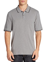 Saks Fifth Avenue Contrast Tipped Polo Shirt Light Grey
