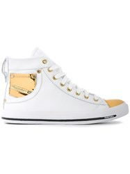 Diesel Hi Top Sneakers Women Cotton Calf Leather Polyurethane Rubber 37 White