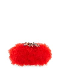 Alexander Mcqueen Marabou Feather Clutch Bag Flame Red Flame Red