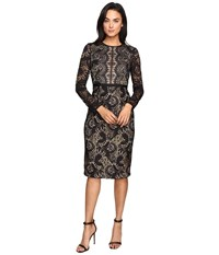 Maggy London Metallic Paisley Lace Sheath Dress Black Gold Women's Dress