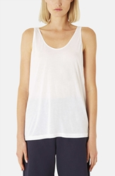 Topshop Boutique Relaxed Modal And Cashmere Tank White