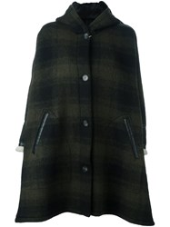 Maison Martin Margiela Mm6 Checked Oversized Hooded Coat Green
