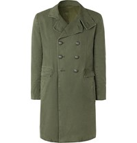 Balmain Slim Fit Double Breasted Cotton Canvas Coat Green