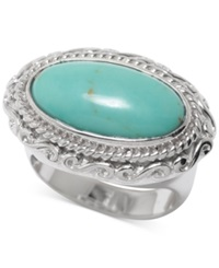 Macy's Manufactured Turquoise Oval Ring In Sterling Silver 2 3 4 Ct. T.W. No Color