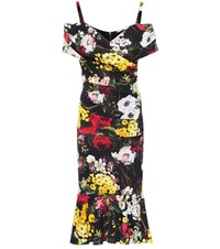 Dolce And Gabbana Floral Printed Silk Dress Multicoloured