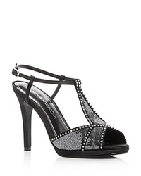 Caparros Ecstasy Jeweled Glitter High Heel Sandals Pewter