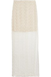 Alice Olivia Misha Embroidered Tulle Maxi Skirt White