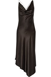 Altuzarra Moonshine Embellished Tulle Trimmed Asymmetric Stretch Silk Dress Black