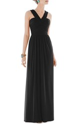 Women's Alfred Sung Shirred Chiffon V Neck Gown Black