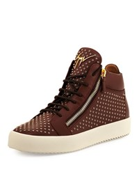 Giuseppe Zanotti Leather Mid Top Sneaker With Eyelets Brown