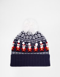 Asos Bobble Beanie In Navy With Fair Isle Santa Design
