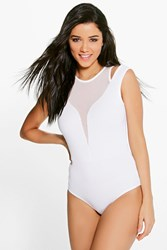 Boohoo Mesh Panel Cut Out Detail Bodysuit White