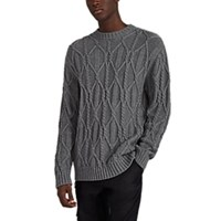 Barneys New York Cable Knit Cotton Sweater Gray