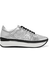 Kenzo Basket Metallic Embossed And Smooth Leather Platform Sneakers Silver