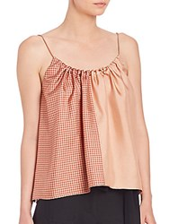 Helmut Lang Pieced Scarf Print Silk Camisole Top Blush