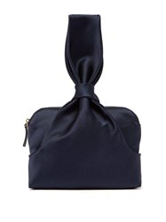 The Row Knotted Silk Satin Wristlet Clutch Navy