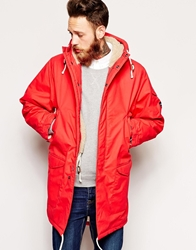 Universal Works Parka In British Waxed Cotton With Borg Lining Red