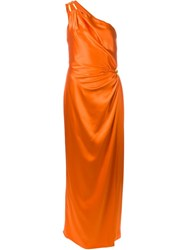 Moschino One Shoulder Draped Dress Yellow And Orange