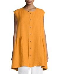 Eskandar Sleeveless Button Front Top Orange