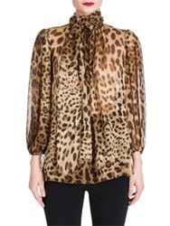 Dolce And Gabbana Leopard Print Chiffon Tie Neck Blouse Natural Leopard