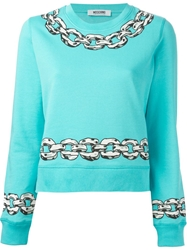 Moschino Cheap And Chic Chain Print Sweatshirt Blue