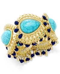 Thalia Sodi Gold Tone Blue Stone Peacock Stretch Bracelet Only At Macy's