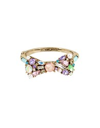 Betsey Johnson Multicolor Stone Bow And Pearl Hinged Bangle