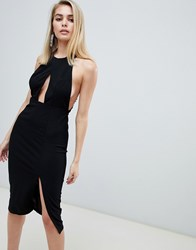 Love Triangle Halterneck Bodycon Dress With Keyhole Front And Lace Back In Black